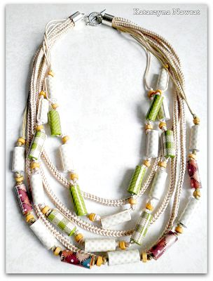 Green and brown rope necklase with paper beads
