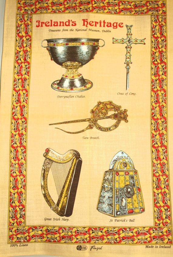 Ireland's Heritage Treasures Celtic Tea Towel  by FunkyKoala