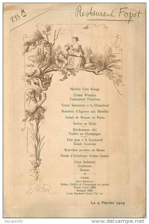 Menus Menus Menu Restaurant Foyot 1905 Magical Pinterest