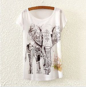 Round neck short batwing sleeve women's t shirt elephant print decor t shirt in women's t-shirts