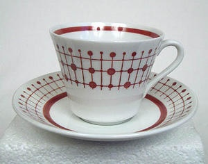 Korall, kaffekopp  Serien Korall är tillverkad av Rörstrand på 60-talet.