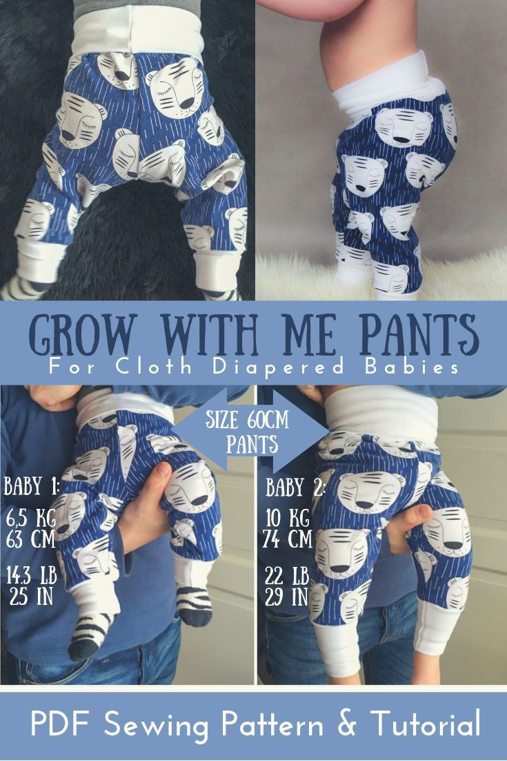 Grow with me pants sewing PATTERN – baby joggers – easy pdf sewing pattern for cloth diapered baby – Super Sewing