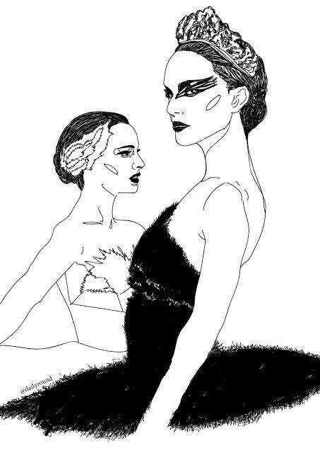 Black swan illustration, natalie portman, ballet, girly paintings