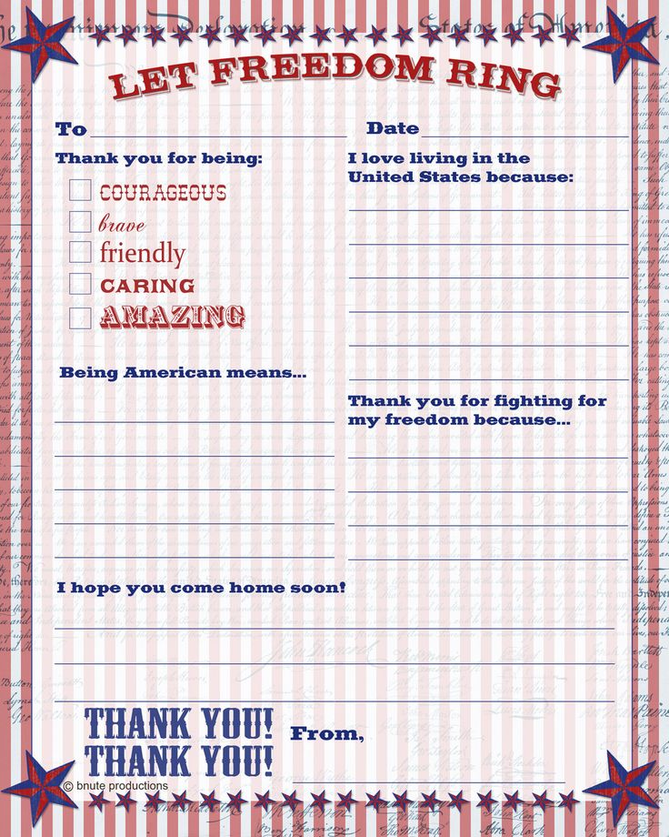 Free Printable Patriotic Thank You Letter - Letter to the Troops from B.Nute productions