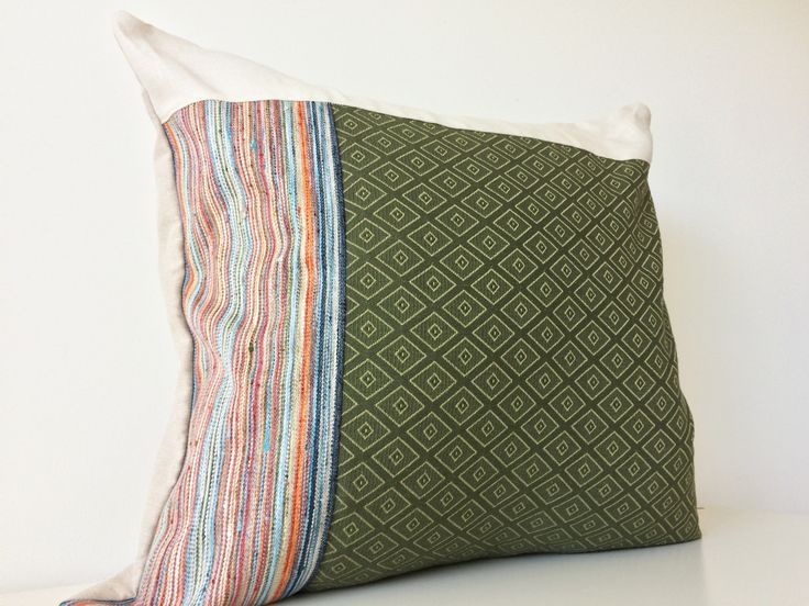 Modern Patchwork Pillow Cover, 20x20, Contemporary Cushion Cover, Multicolour, Moss Green, Stripes, Pattern Block, Color Block, Texture by BlackcatmeowDesigns on Etsy
