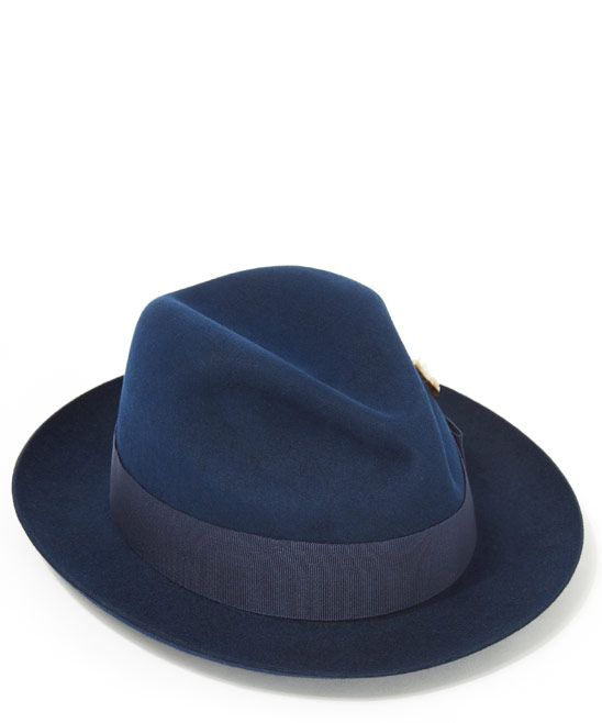 Loving blue as a neutral for Fall. Christys' Hats Blue Kempton Felt Trilby Hat