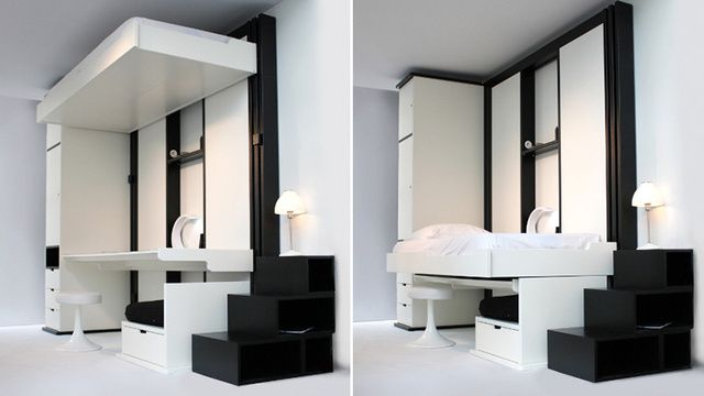 Elevator beds rise to the ceilings so you have extra space