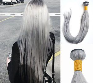 1Bundle-Silver-Gray-Brazilian-Real-Remy-Straight-Human-Hair-Extensions-Weft-100g