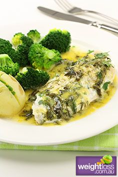 Atkins Diet Recipes: Baked Fish with Lemon Sauce. #HealthyRecipes #DietRecipes #WeightLoss #WeightlossRecipes weightloss.com.au