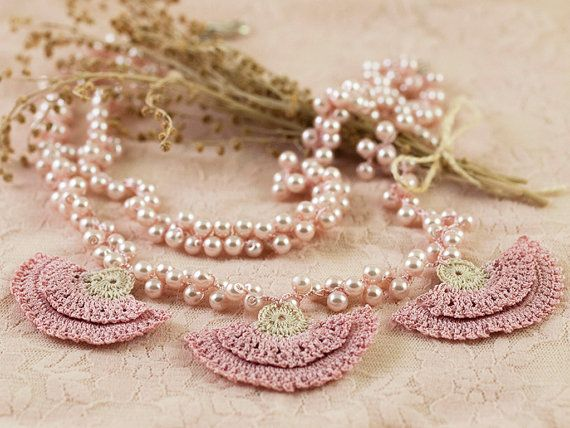 Pearl Wedding Necklace with Pink Carnations - Layered Statement Necklace - Chic Pearls - Pink Carnation Bridal Jewelry - Fiber Art