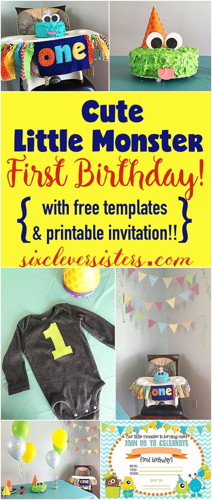 Cute Little Monster FIRST BIRTHDAY {with free templates!} | First Birthday Party | Monster Party | Cake Ideas | Free Party Printables | One Year Old | Party Decorations | Monster Party Invitations | Check out ALL the #partyideas at Six Clever Sisters blog!