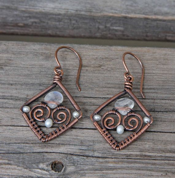 Copper Pearl Moonstone Wire Wrapped Diamond Earrings