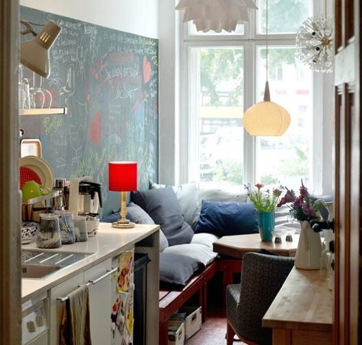 Adore this kitchen/nook space with the chalk board wall. http://www.apartmenttherapy.com/tiny-sinks-in-tiny-kitchens-168822?utm_source=feedburner_medium=feed_campaign=Feed%3A+apartmenttherapy%2Fmain+%28AT+Channel%3A+Main%29_content=Google+Reader
