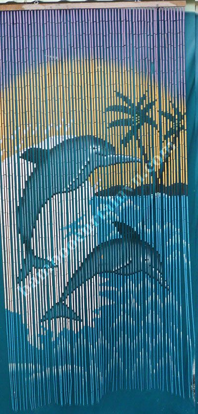 Two dolphins jumping bamboo Beaded Curtain hand made and hand painted