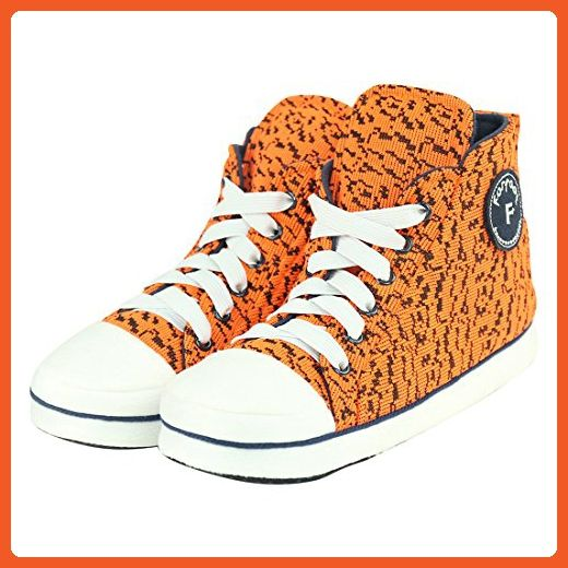 Forfoot Women's Winter Cozy Cute High-Top Non Slip Indoor Slipper Boots House Sneakers Orange Womens Size 7 - Slippers for women (*Amazon Partner-Link)