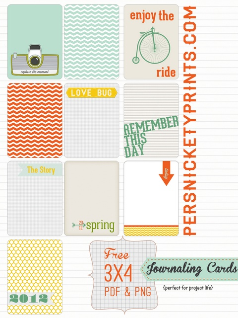 {free} project life 3x4 journalers | persnickety prints