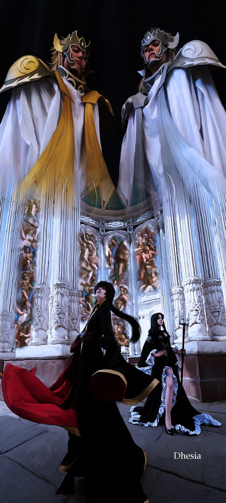 Saint Seiya The Lost Canvas - by Dhesia.deviantart.com on @DeviantArtSaint Seiya Lost Canvas @ Masami Kurumada, Shiori Teshirogi Thanatos and Hypnos model@ Geminicosplay -  geminicosplay.deviantart.com/ Aron and Pandora model @ Geshapetrovich - geshapetrovich.deviantart.com/