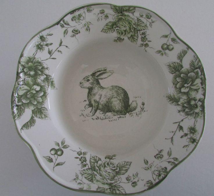 MAXCERA GREEN WHITE TOILE EASTER BUNNY RABBIT LARGE DEEP SERVING BOWL & 20 best Maxcera dinnerware images on Pinterest   Bunny Dinnerware ...