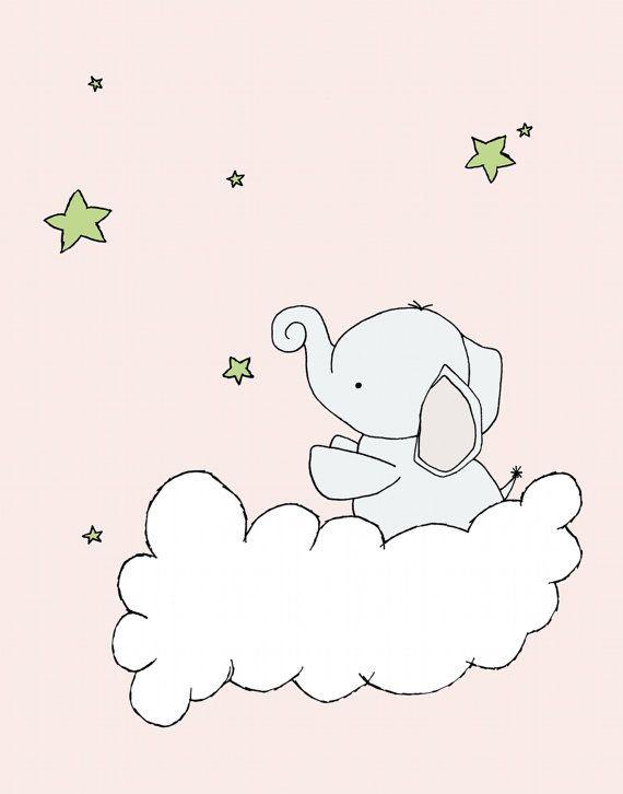 Custom Listing for Betsy, Nursery Art, Elephant Nursery Art, 11x14 Nursery Decor, Elephant Art Print, Baby Elephant Stars, Children Art