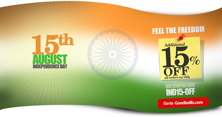 """Feel The Freedom""  Get Additional 15% OFF on 15th August on All Orders. Use Coupon Code ""IND15OFF"".    Click here to buy: http://goodbells.com/?utm_source=pinterest_medium=link_campaign=pin15Aug_independenceday"