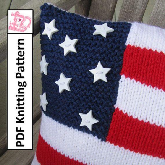 Knitting Pattern Us Flag : PDF KNITTING PATTERN, American Flag knitting pattern, 12