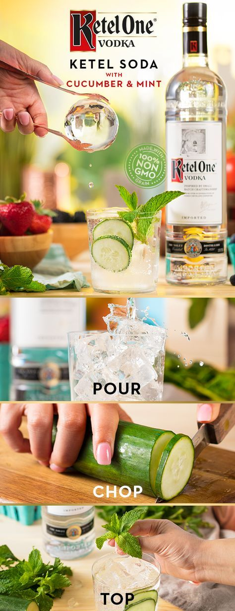 We make our Ketel One® Vodka with 100% non-GMO grain. Pair that with crystal clear ice and you've got a perfect combination for a delicious summer cocktail. Mix up a Ketel Soda with Cucumber & Mint and see what you've been missing. Start by pouring 1.5 oz Ketel One® Vodka into a glass over ice. Add in thinly sliced cucumber, top with 3 oz club soda, and garnish with a mint sprig.