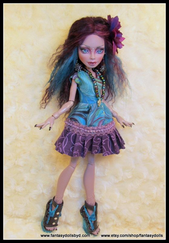 Monster High Doll Marisol Coxi Repaint with Mohair Reroot and OOAK Custom Outfit by Fantasy Dolls by Donna Anne  Find me on Facebook: https://www.facebook.com/pages/Fantasy-Dolls-by-DonnaAnne/837776306265877