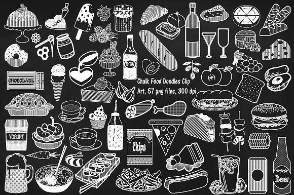 Chalk Food Doodles Clip Art By Frankiesdaughtersdesign On Creativemarket Chalk Lettering Food Doodles Chalk Drawings