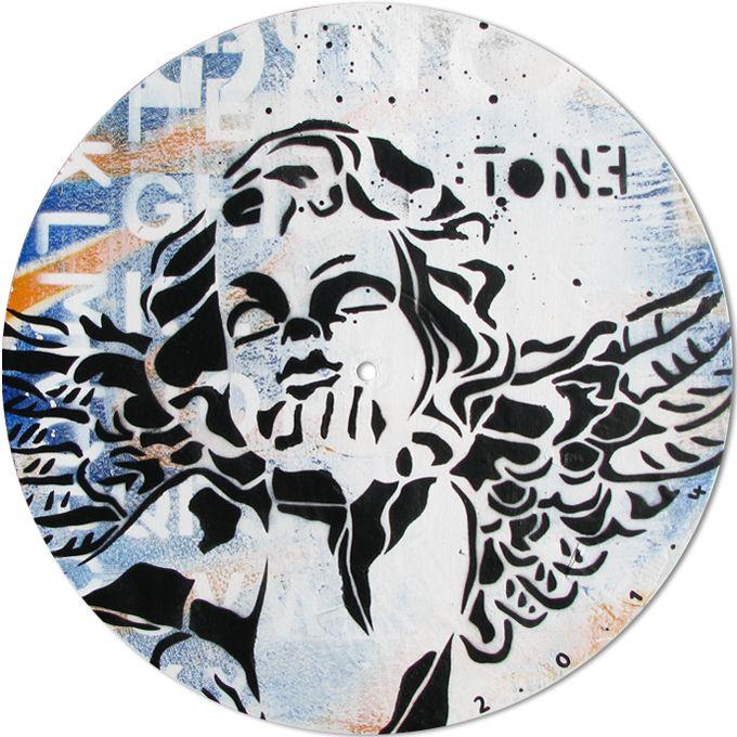ANGE-4.Technique mixte sur disque vinyle 33T / Mixed media on vinyl disc 33T. Juillet 2014, july. Artiste-peintre: Tone.  www.t-pakap.net