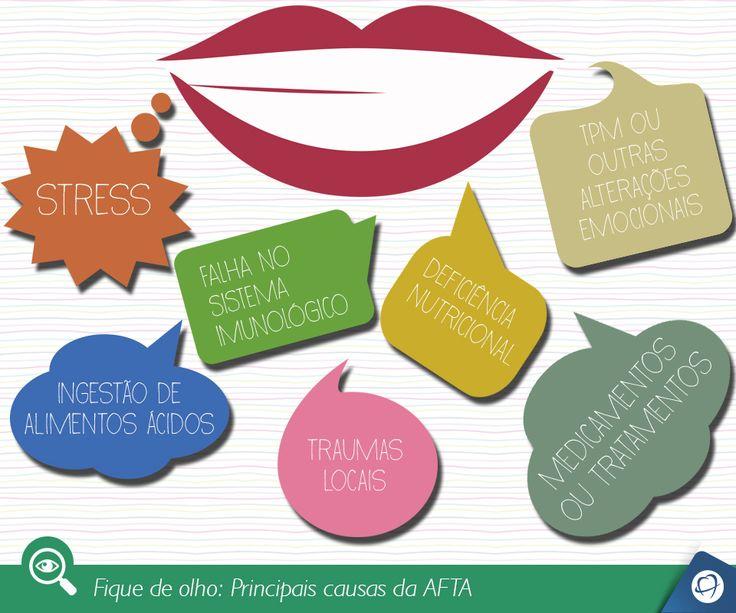 Aftas são pequenas ulceras ovais, com aproximadamente 1cm de diâmetro, rasas, de coloração branca ou amarelada e de bordas avermelhadas. Geralmente aparecem na mucosa bucal, gengiva, bordas da língua ou assoalho da boca. A evolução de uma afta dura em média de 7 a 14 dias. Caso o problema ultrapasse este período, procure um dentista.