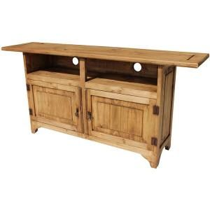 Place your TV on top of this rustic southwestern TV stand.  The cubby holes provide plenty of space for your cable box, DVD player, and/or CD player.  There is additional storage space in the lower cabinets.  Hand made in Mexico by skilled craftsmen, you'll appreciate the sturdy solid pine construction and the attractive panel doors.