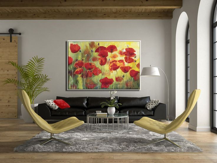 Large Art, Contemporary Art, Red Poppies Wall Art, Wall Art Canvas, Flower  Wall Decor, Living Room Art, Large Wall Decor, Large Canvas Art