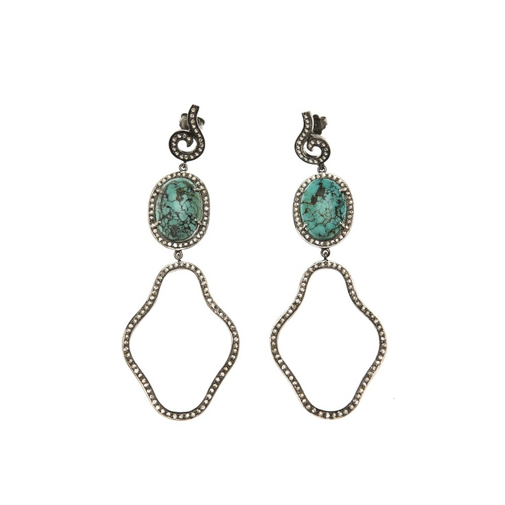 The Woods Diamond and Turquoise Earrings