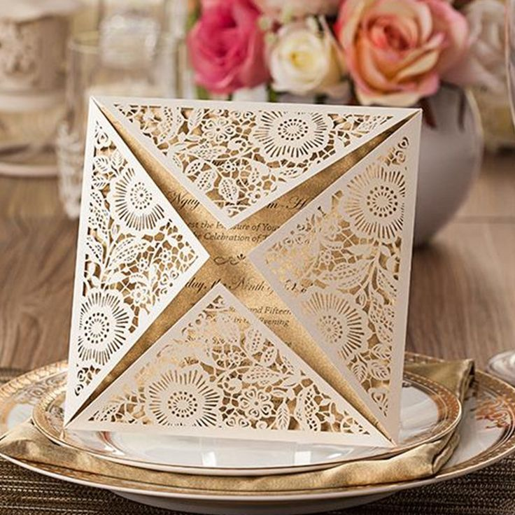 design rustic gold beige wedding invitations laser cut invitation cards with insert paper blank card envelope