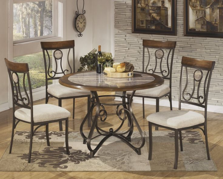 Dining Room, : Delightful Small Dining Room Decoration Using Cream Granite 60 Inch Round Dining Table Along With Black Iron Dining Chair Frame And Black Wrought Iron Table Base