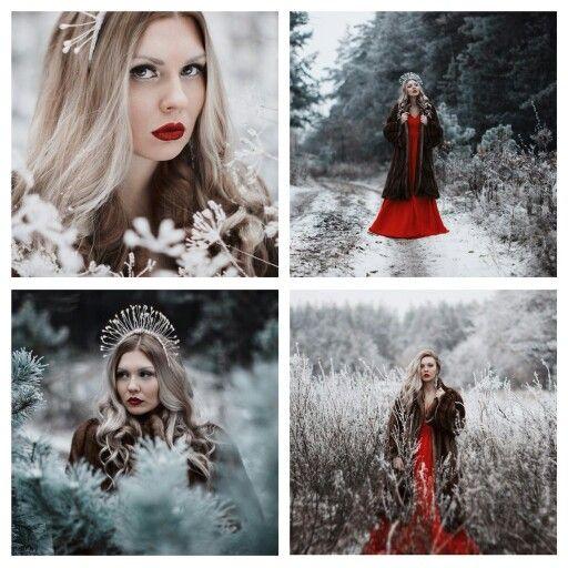 Фотосессия девушки в платье зимой