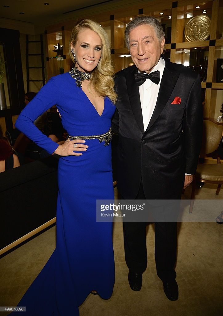 Carrie Underwood and Tony Bennett pose backstage during 'Sinatra 100: An All-Star GRAMMY Concert' celebrating the late Frank Sinatra's 100th birthday at the Encore Theater at Wynn Las Vegas on December 2, 2015 in Las Vegas, Nevada. The show will air on CBS on December 6.