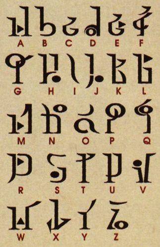 Twilight Hylian Alphabet