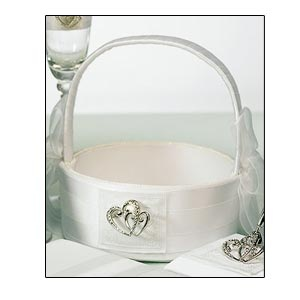 Classic Double Heart Flower Girl Basket