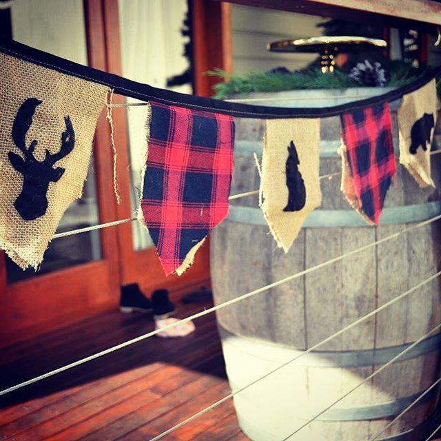 #lumberjack1stbirthday #lumberjackbunting #plaidandburlap #lumberjackdecorations