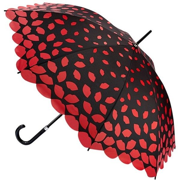 Lulu Guinness Scattered Lips Kensington Umbrella, Black/Red (£34) ❤ liked on Polyvore featuring accessories, umbrellas, lulu guinness umbrella, lulu guinness, fancy umbrella and red umbrella