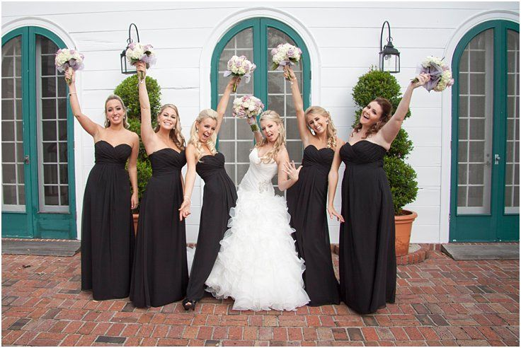 Fun bridesmaid photo idea. Elegant, fall wedding at Marie Selby Botanical Gardens in Sarasota, Florida. Bridesmaids in black Bill Levkoff gowns, bride in Sottero and Midgley. © Degrees North Images #bridetribe
