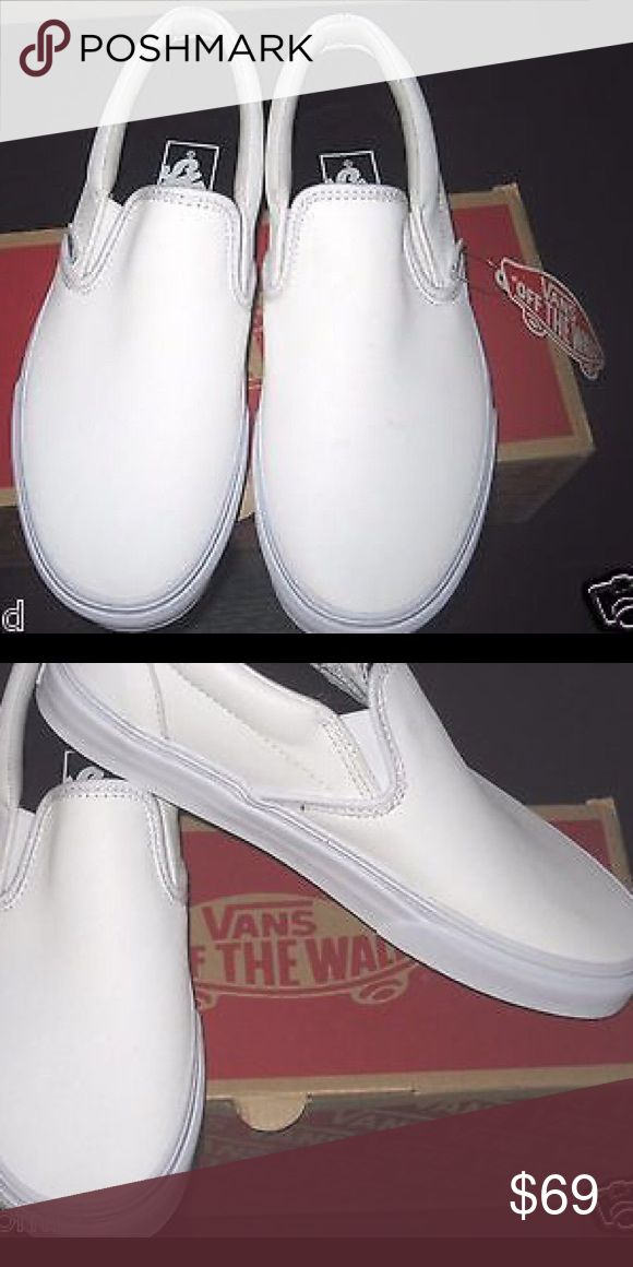 Men's white leather vans Brand new Men's leather slip on vans, with box Vans Shoes Loafers & Slip-Ons