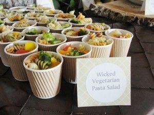 Party food idea - pasta salad in mini coffee cups.