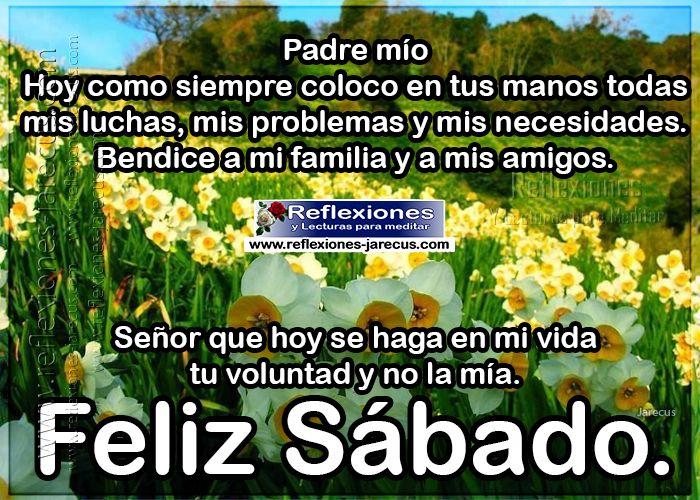 Feliz sábado Padre Mio, Hoy como siempre coloco en tus manos todas mis luchas, mis problemas y mis necesidades.  Bendice a mi familia y a mis amigos.