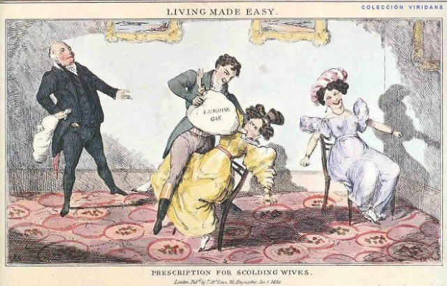"""""""Living Made Easy: Prescription for Scolding Wives."""" A (satirical) cartoon from the early 19th century: and another reason I don't miss 'the good old days.'"""