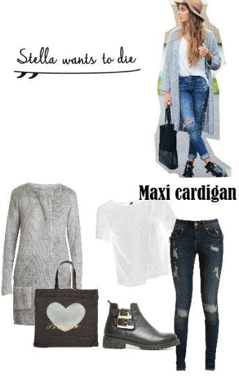 La blogger StellaWantsToDie nos muestra este look súper trendy y nosotros lo copiamos con cardigan XXL de @veromodafashion, jeans rotos de Noisy May, top cruzado de Vero Moda, botines de @exeshoes y bolso de Stella Rittwagen.
