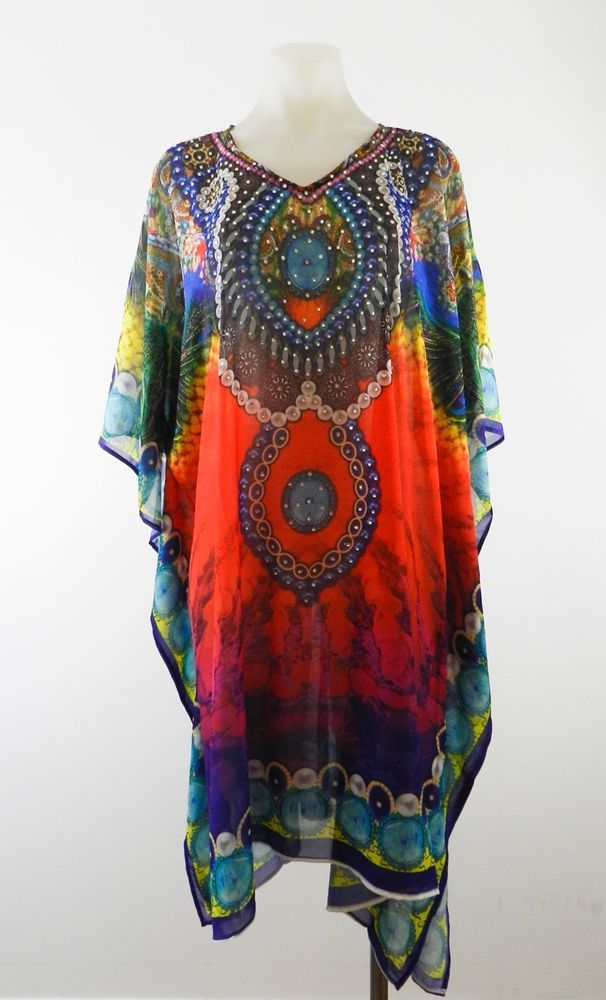 Ladies Caftan Kaftan Embellished Jewelled Cocktail Dress  8 10 12 14 16 18