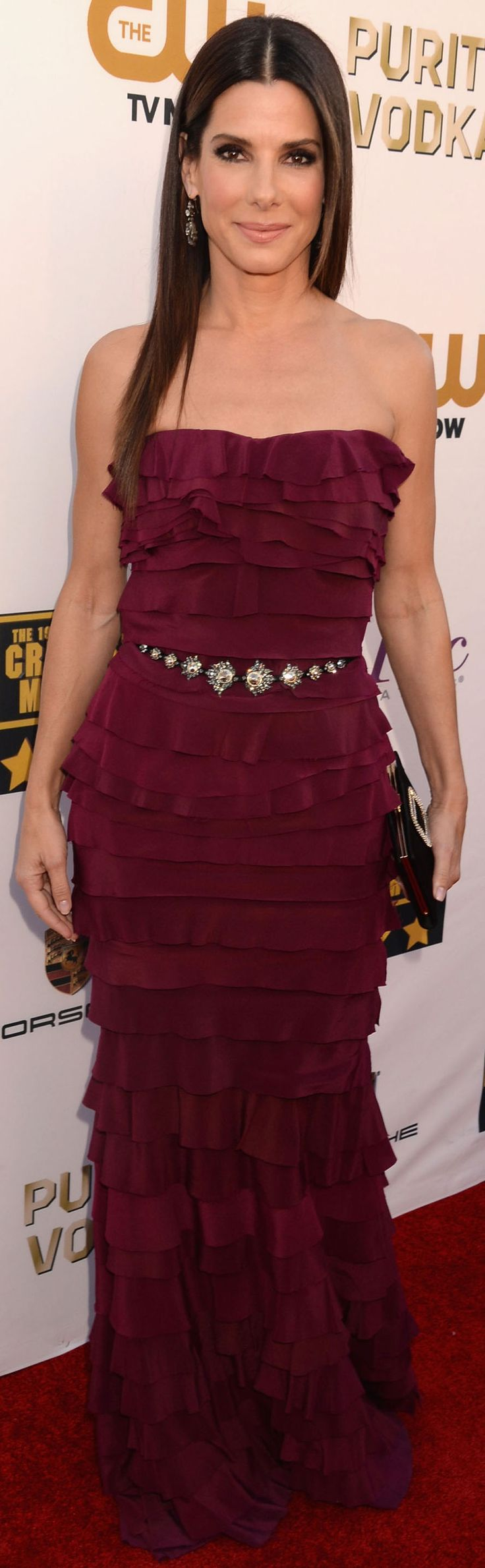 Sandra Bullock in a tiered dress and sparkling belt at the Critics' Choice Awards