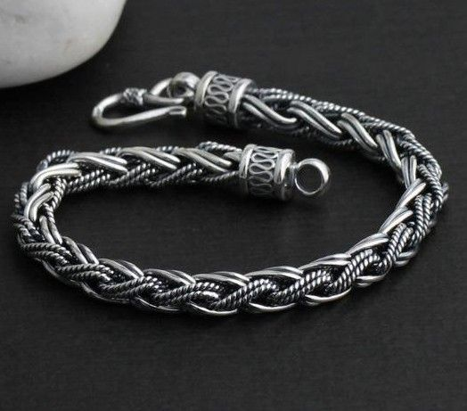 Sterling Silver Men S Cuff Bracelets Bracelet Handmade Thailand 925 Tribal For Mens Jewelry Pinterest